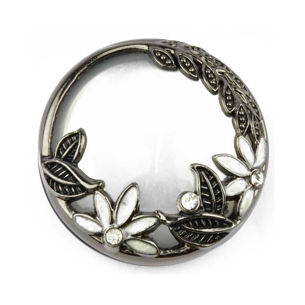 Botón Perlado 4 cm metal y perla