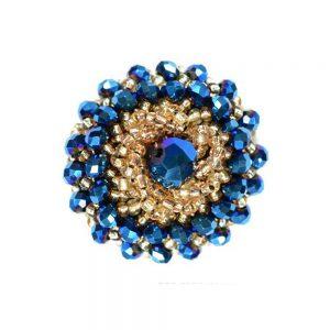 Botón bola facetada y rocalla 3 cm azul klein