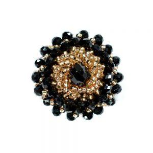 Botón bola facetada y rocalla 3 cm negro