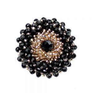 Botón bola facetada y rocalla 4 cm negro