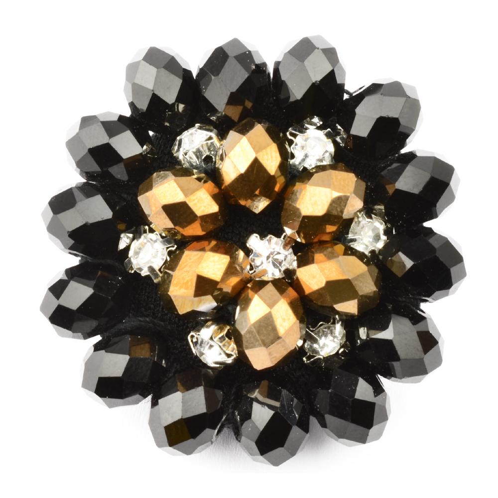 Botón crystal piedra 35 mm negro