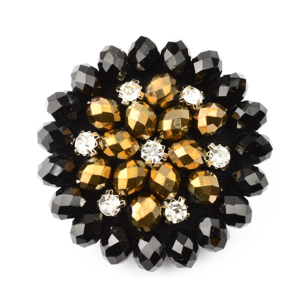 Botón crystal piedra 45 mm negro