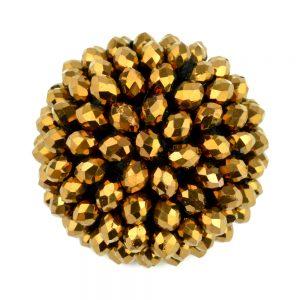 Botón semibola 30mm pedrería oro