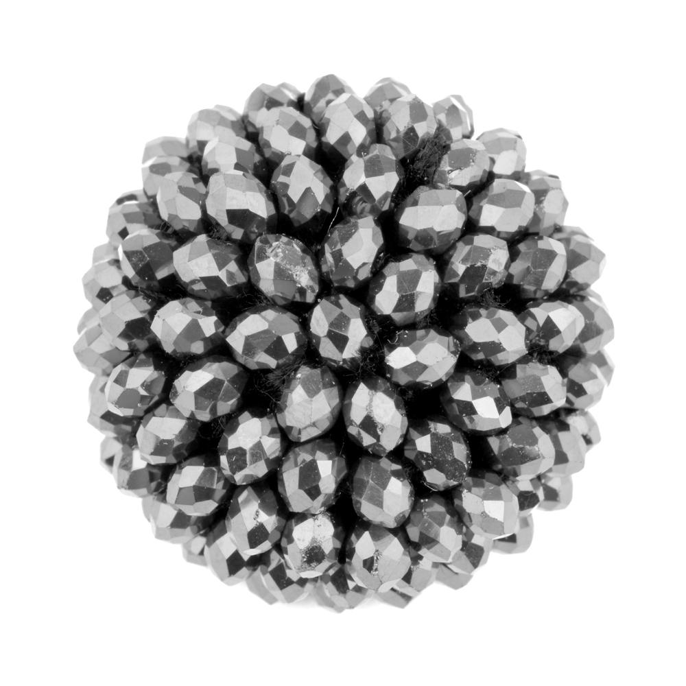 Botón semibola 30mm pedrería plata