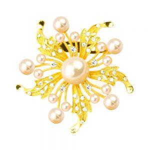 Broche Estrella perla oro