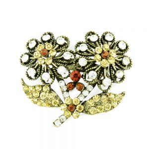 Broche Flor doble strass oro