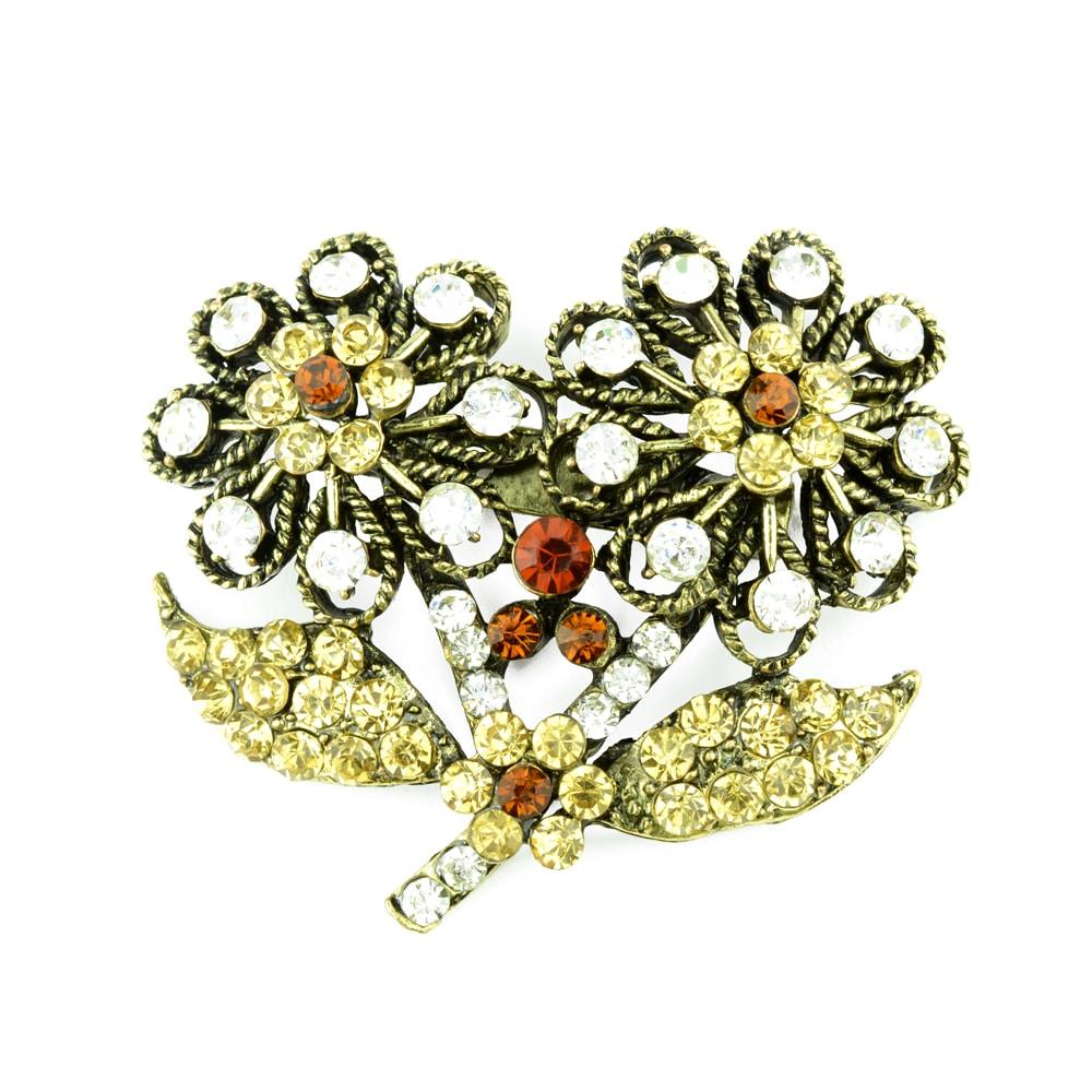 Broche Flor doble strass oro