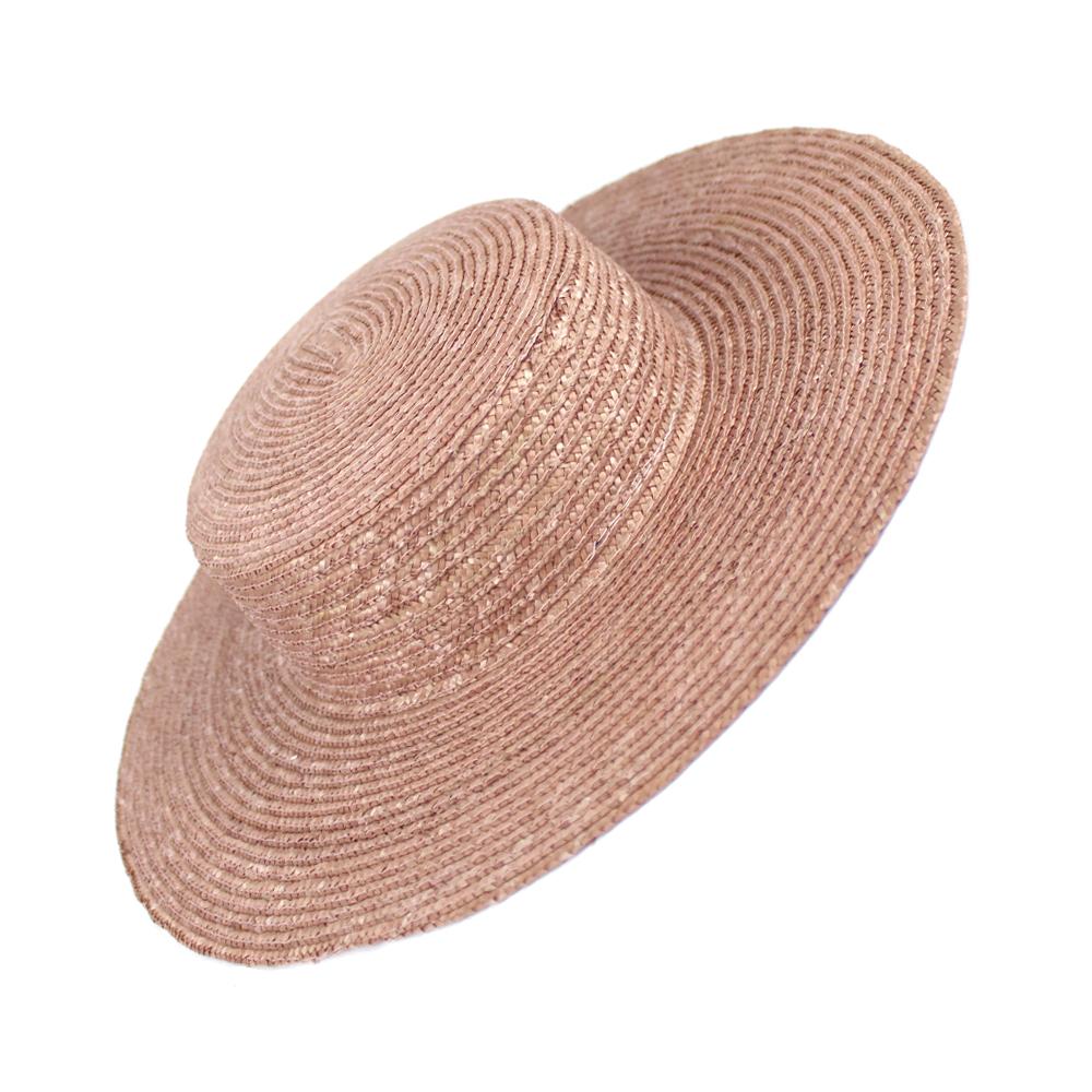 Canotier copa baja ala ancha paja 1ª calidad rosa nude