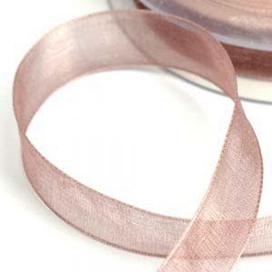 Cinta organdí 15 mm rosa nude oscuro