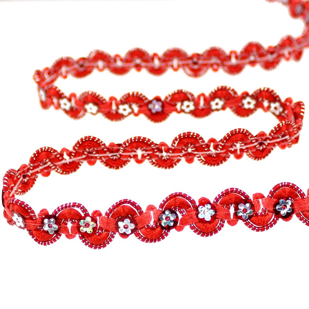 Cinta satén y lentejuela 1 5 cm rojo