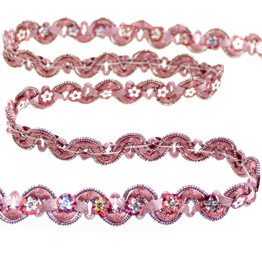 Cinta satén y lentejuela 1 5 cm rosa nude