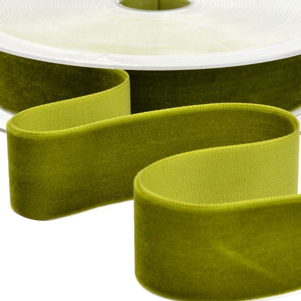 Cinta terciopelo 38 mm verde oliva