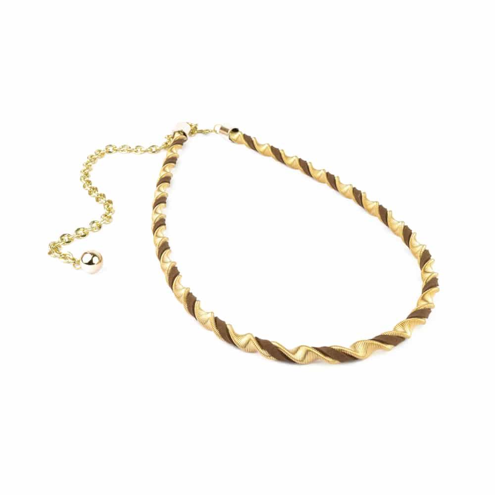 Cinturón Collar Helicoidal marrón y oro
