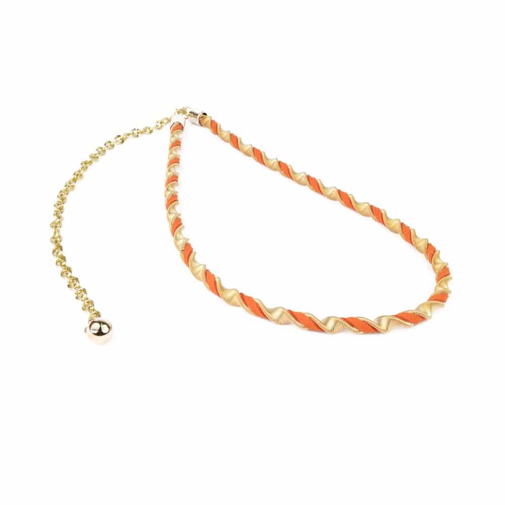 Cinturón Collar Helicoidal naranja y oro