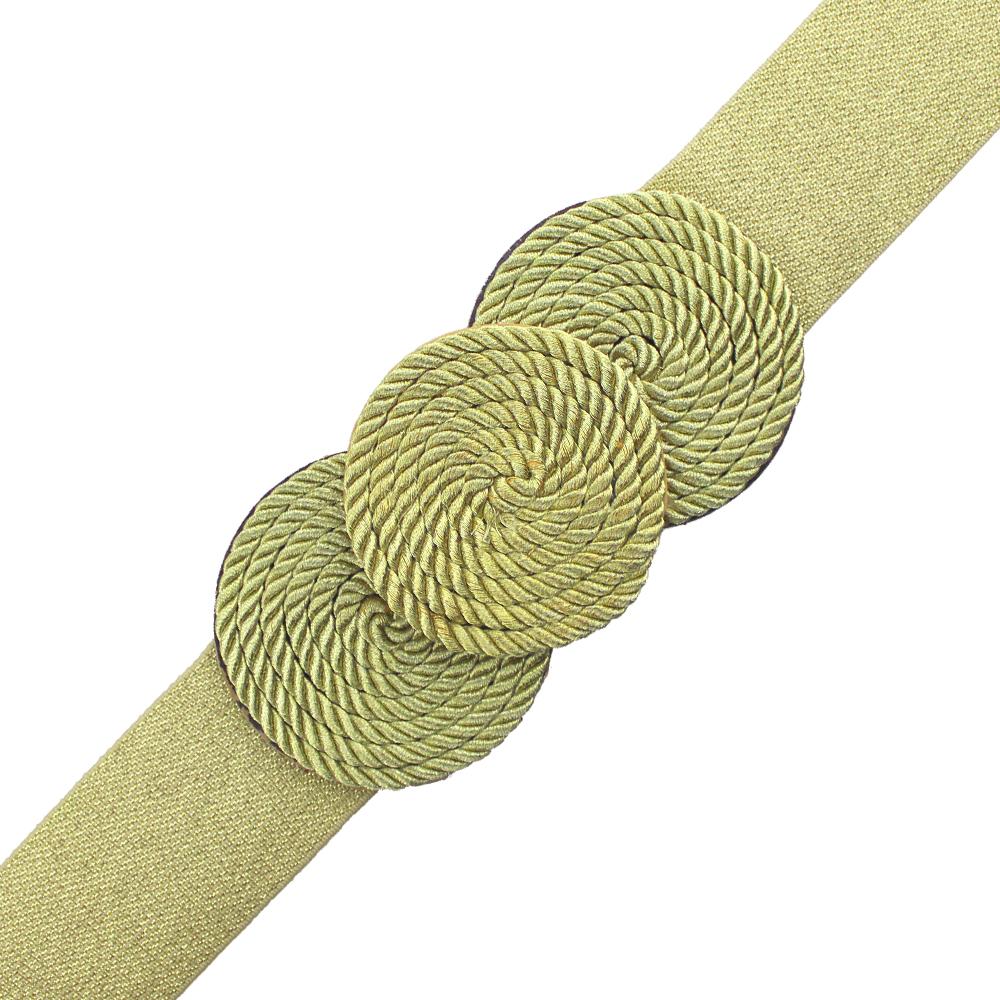 Cinturón de cordón trenzado círculos dorado