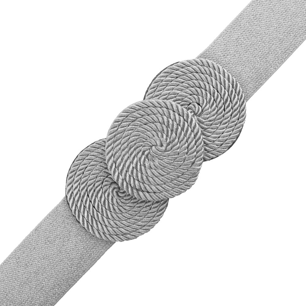 Cinturón de cordón trenzado círculos plata