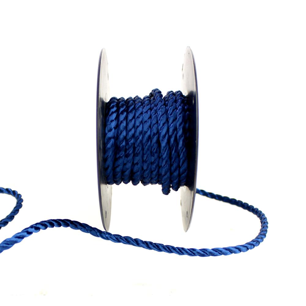 Cordón trenzado seda 5 mm azul