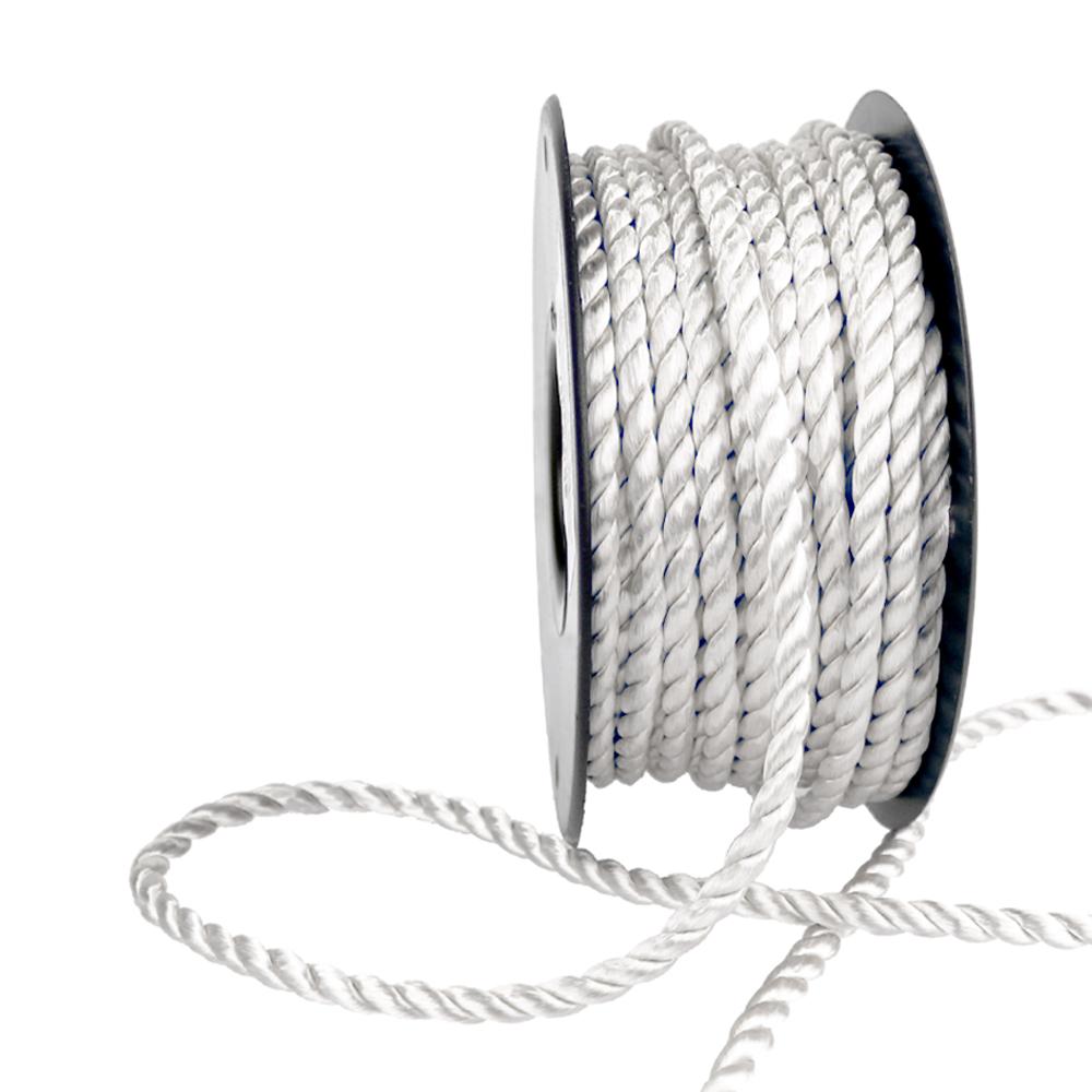 Cordón trenzado seda 5 mm blanco