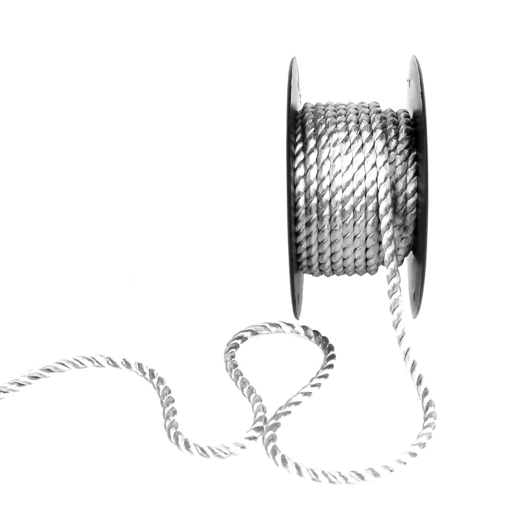 Cordón trenzado seda 5 mm gris plata