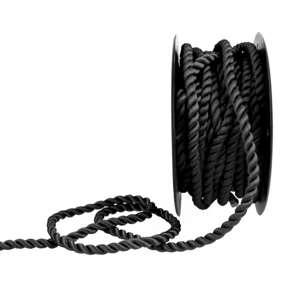 Cordón trenzado seda 5 mm negro