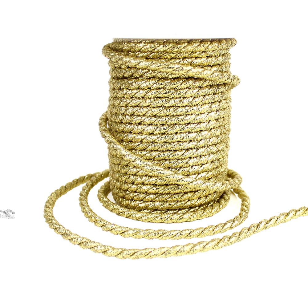 Cordón trenzado seda 5 mm oro