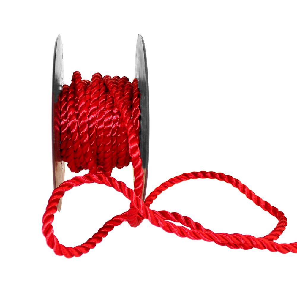 Cordón trenzado seda 5 mm rojo