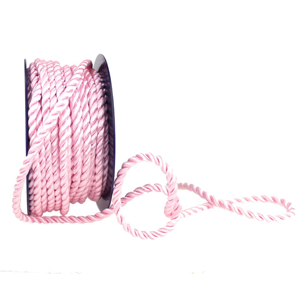 Cordón trenzado seda 5 mm rosa