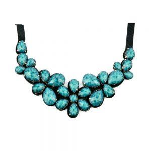 Cuello Flores piedras azul medio