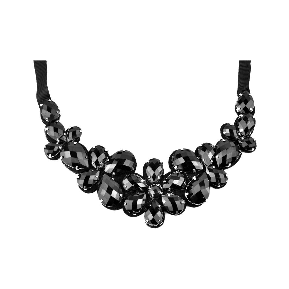 Cuello Flores piedras negro