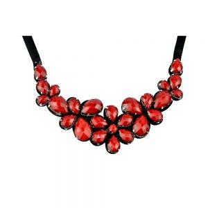 Cuello Flores piedras rojo