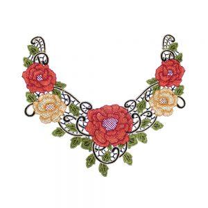 Cuello bordado rosas multicolor
