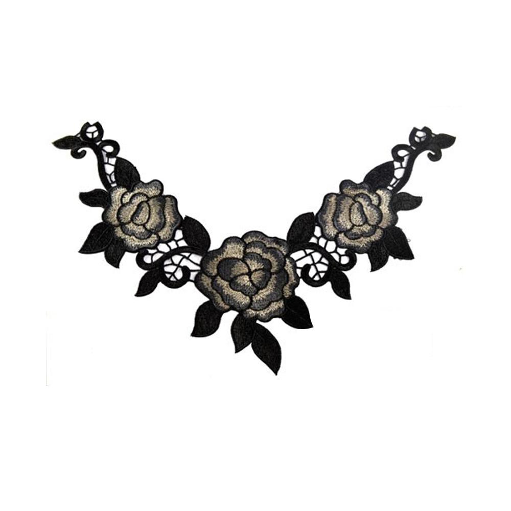 Cuello bordado y encaje 26×34 cm negro
