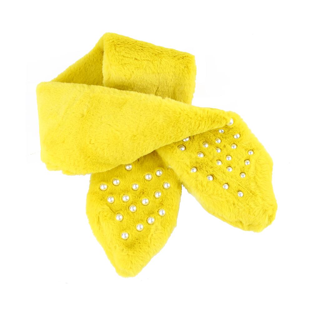 Cuello de pelo con perlas amarillo