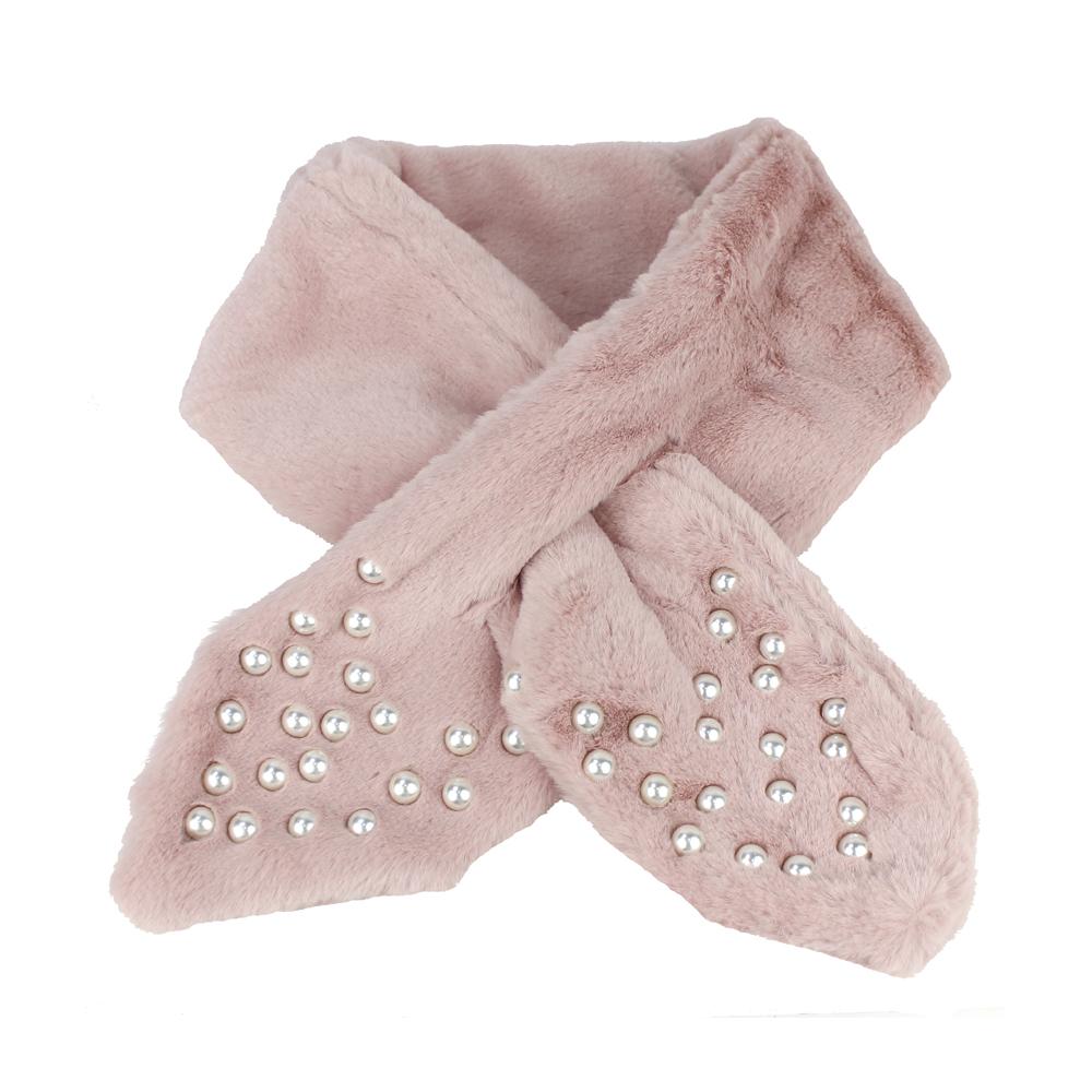 Cuello de pelo con perlas rosa nude