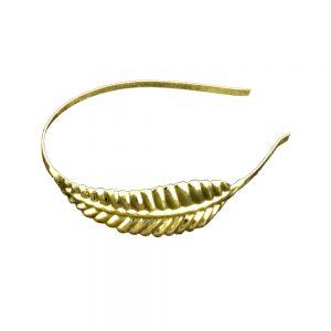 Diadema con pluma de latón oro
