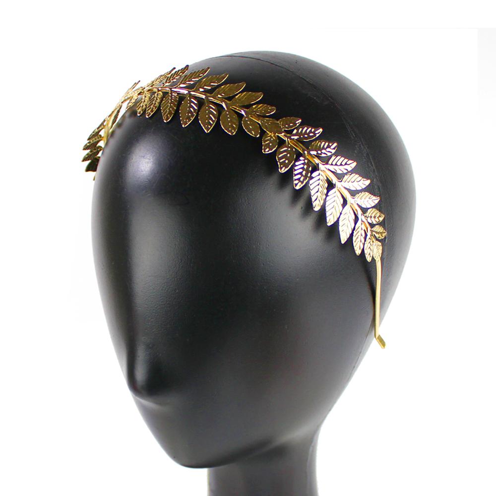 Diadema hojas de latón completa oro