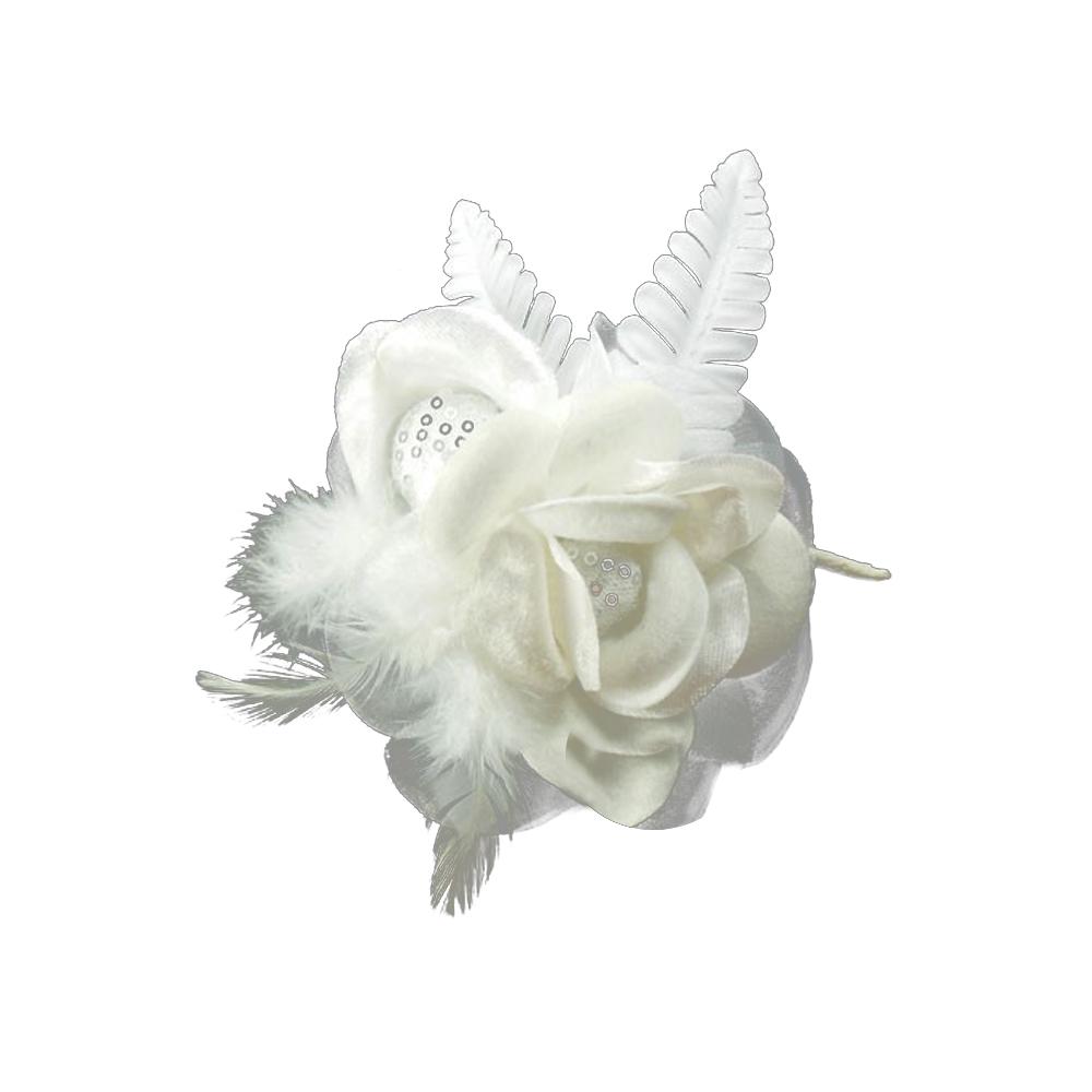 Doble flor de terciopelo 16x10cm blanco