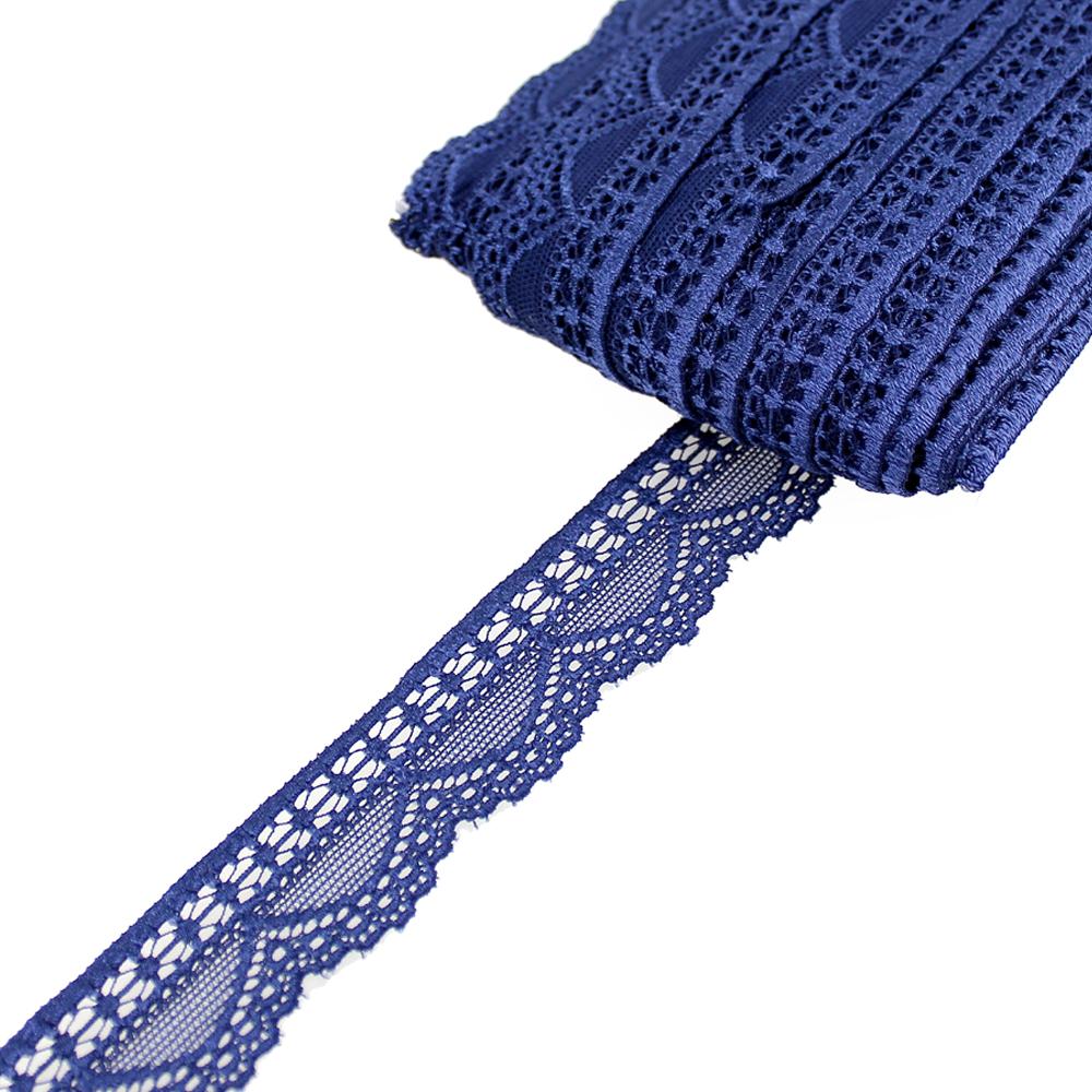 Encaje Nylon elástico azul marino