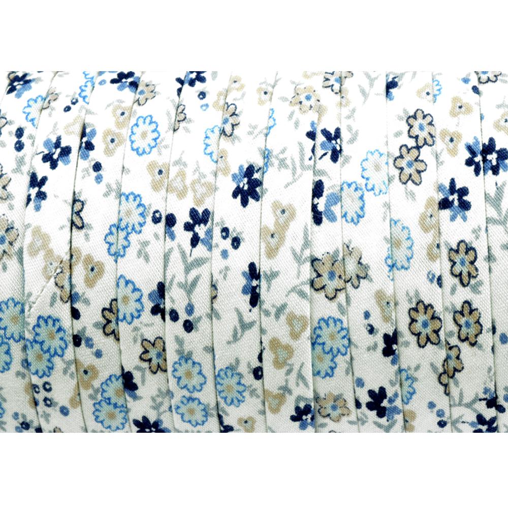 Espagueti algodón flores 7 mm azul marino