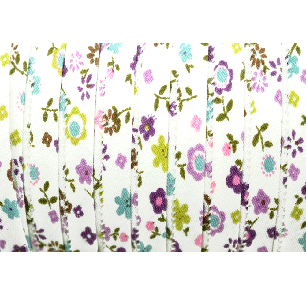 Espagueti algodón flores 7 mm flores lila