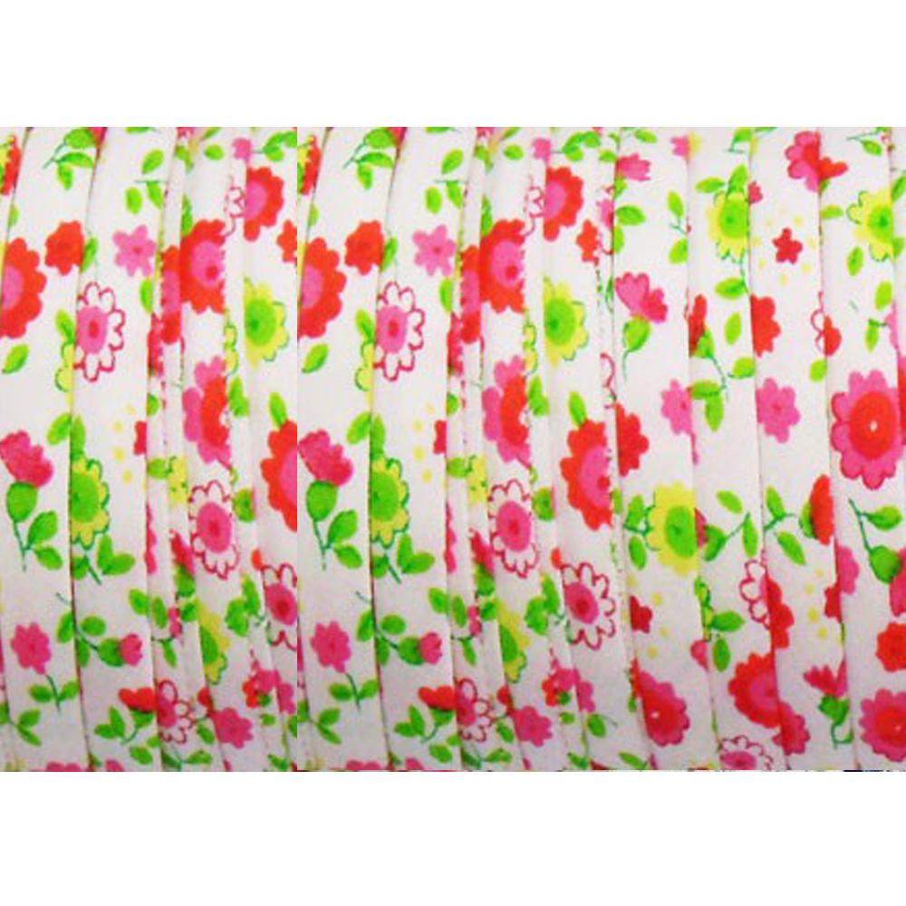 Espagueti algodón flores 7 mm fucsia