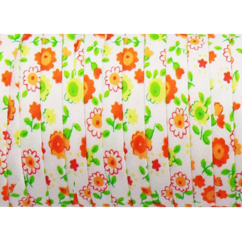 Espagueti algodón flores 7 mm naranja