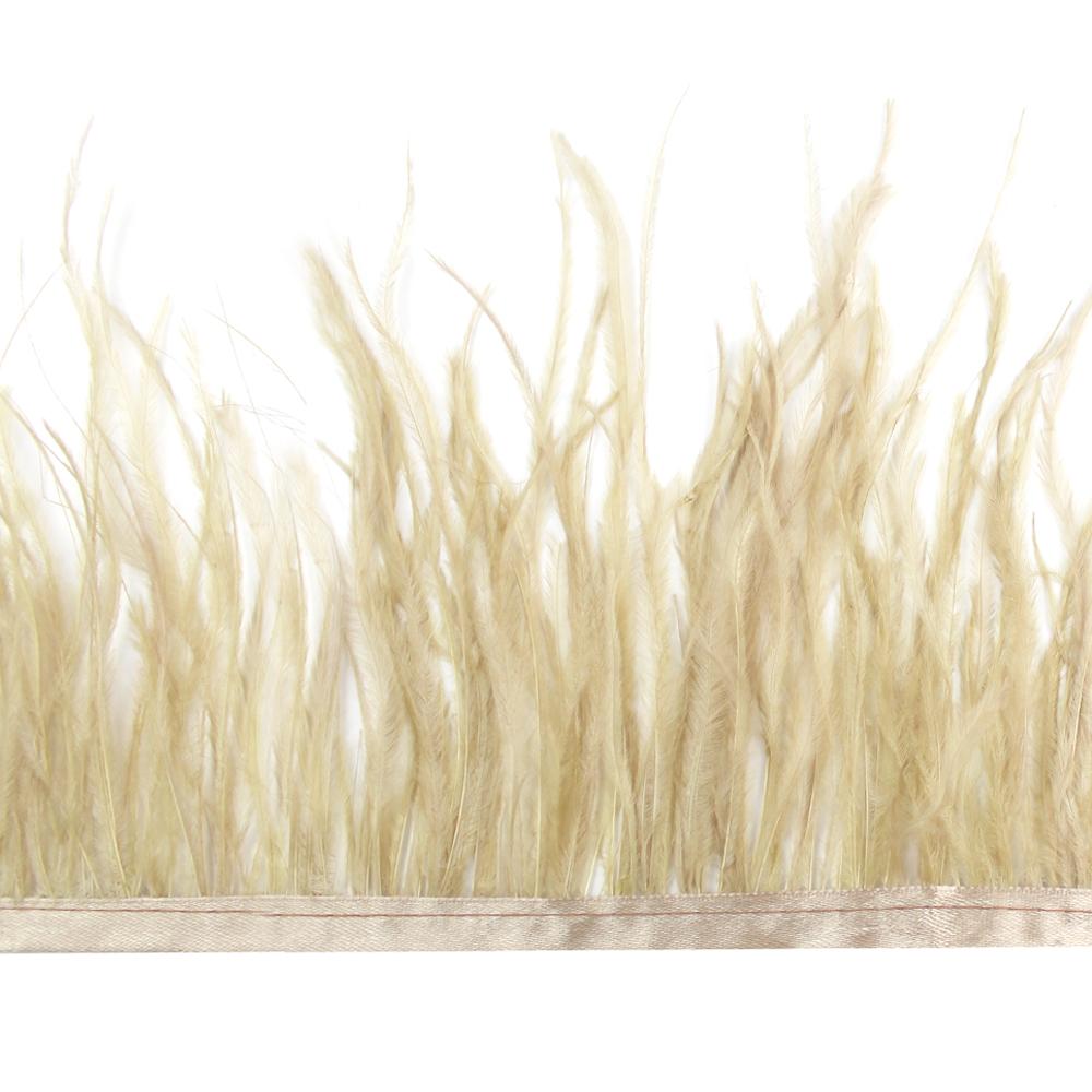 Fleco de avestruz beige tostado
