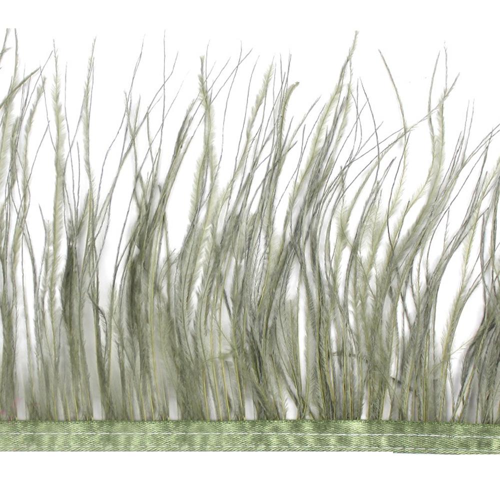 Fleco de avestruz verde seco