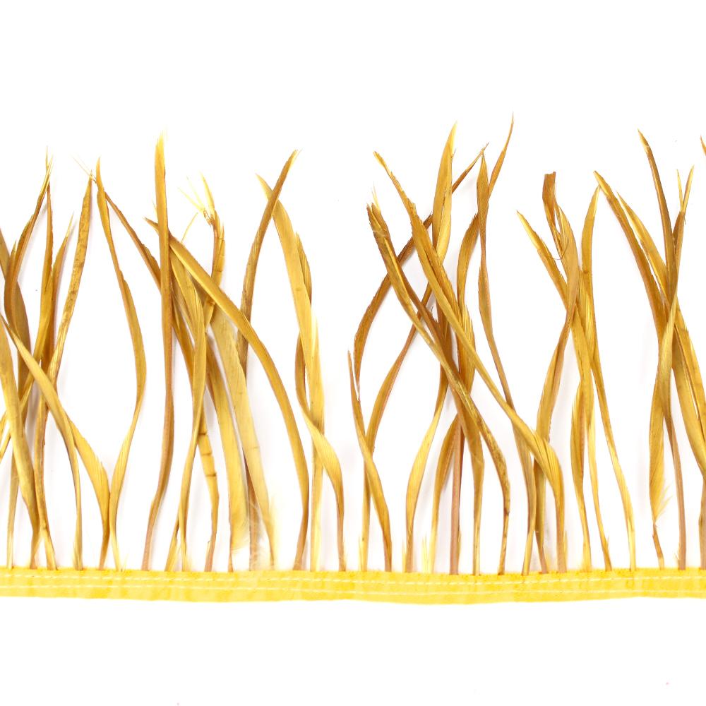 Fleco de plumas de oca dorado