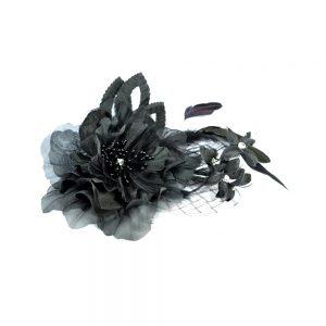 Flor Aurea plumas strass 20×14 negro