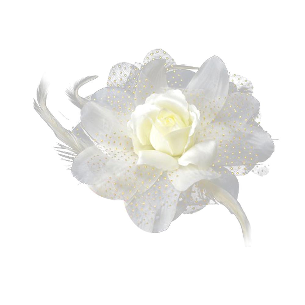 Flor de organza y pluma crudo