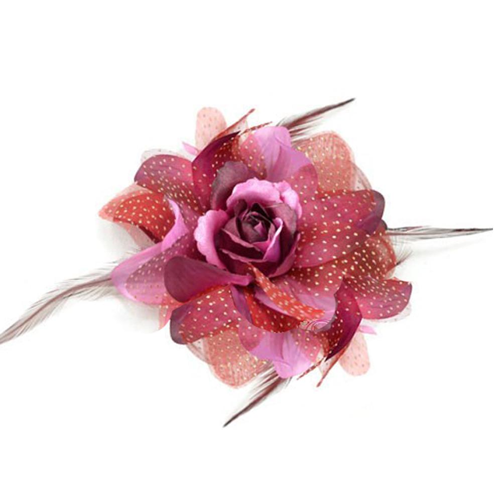 Flor de organza y pluma granate