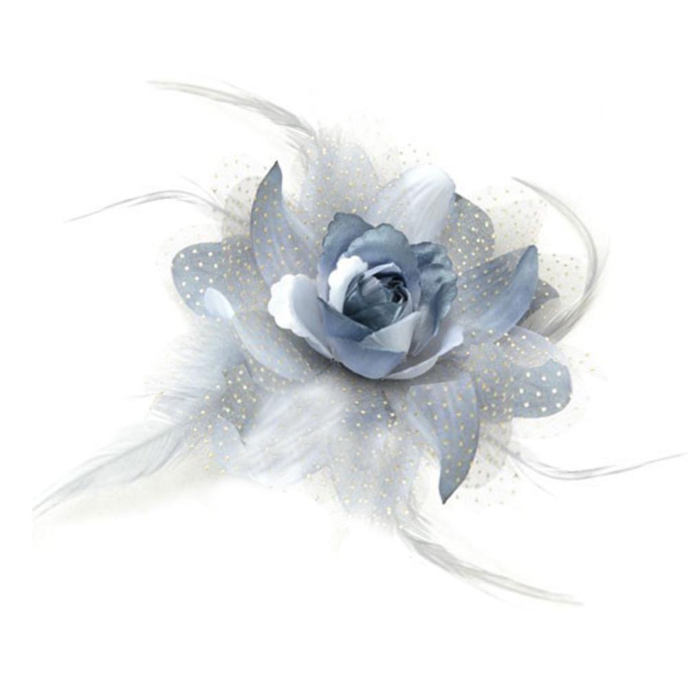 Flor de organza y pluma gris claro