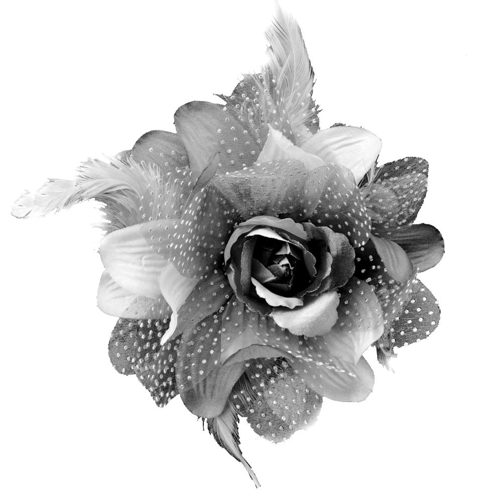 Flor de organza y pluma gris